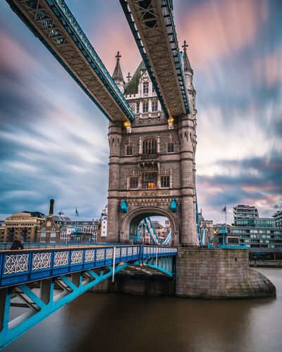 Long exposure of a beautiful sunset at the Tower Bridge in London. London Pink Travel Blue Bridge Bridge - Man Made Structure Clouds Historic History Londonbridge Longexposure Sky Stone Structure Sunset Travel Destinations Water #urbanana: The Urban Playground