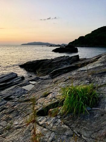 Autumn Sunset Colours Beautiful Boulders Beach Sea Water Nature Beauty In Nature Scenics Tranquility Tranquil Scene Sunset Sky Rock - Object No People Beach Horizon Over Water Outdoors Day The Week On EyeEm Oseto Japan