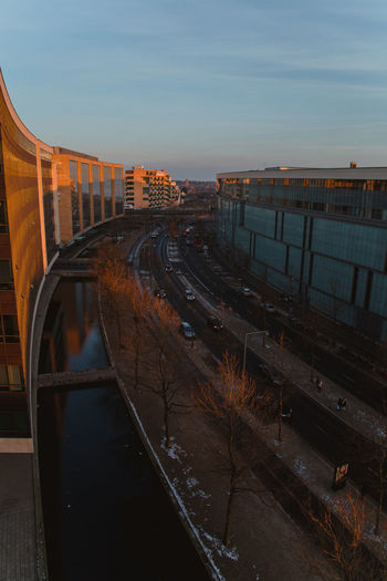 High angle view of bridge over canal against sky