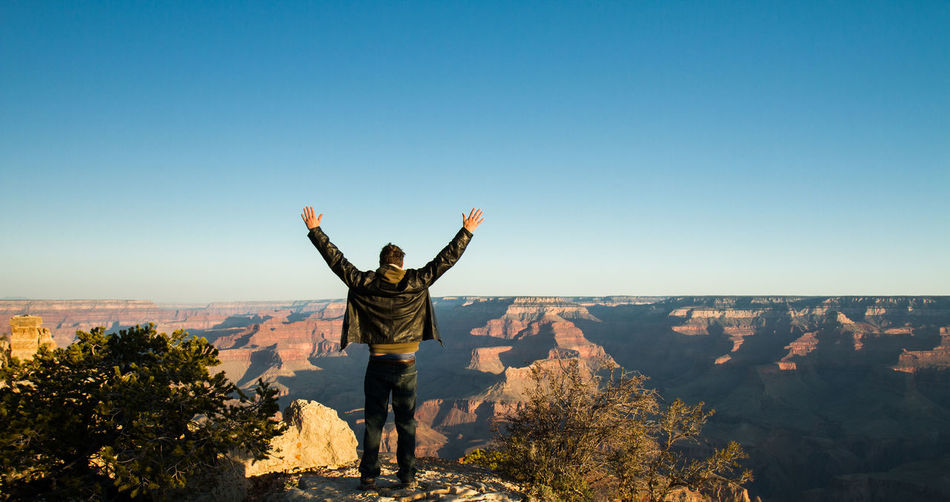Arizona Arms Outstretched Arms Raised Blue Sky Canyon Clear Sky Day Desert Freedom Golden Grand Canyon Inspiration Nature Outdoors Rock Selfie Sky Sunrise Tranquil Scene Victory