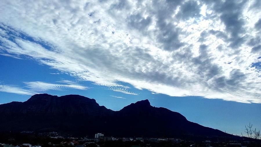 Beautiful View Table Mountain Day Time Clouds Blue Sky Beautiful Nature Mountain Blue Silhouette Tree Sky Mountain Range Cloud - Sky