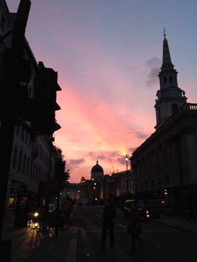 City Sunsets Pink Skies Busy Street London Scene Buildings Beautiful Skies Silohuette Shadows National Portrait Gallery St Martin-in-the-fields No Filter, No Edit, Just Photography Pastel Power London Lifestyle