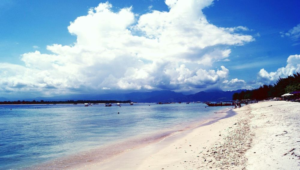 Stunning Beach Pink Sand Clouds Blue Sky Lombok Gili Trawangan INDONESIA Wonderful Indonesia