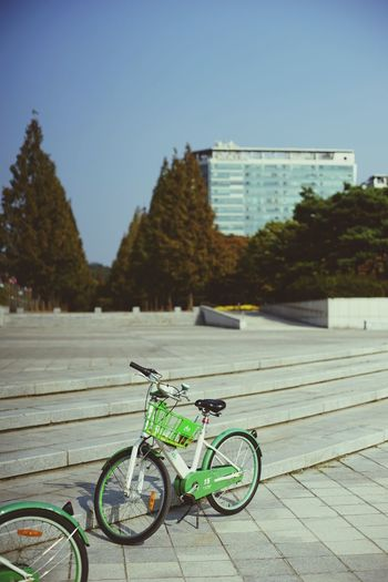 Second Acts Bicycle Transportation Mode Of Transport Outdoors Day Stationary No People Sky City Building Exterior Architecture Tree Water EyeEmNewHere Green Color Hsun The Week On EyeEm EyeEm Gallery City Lake Park Second Acts