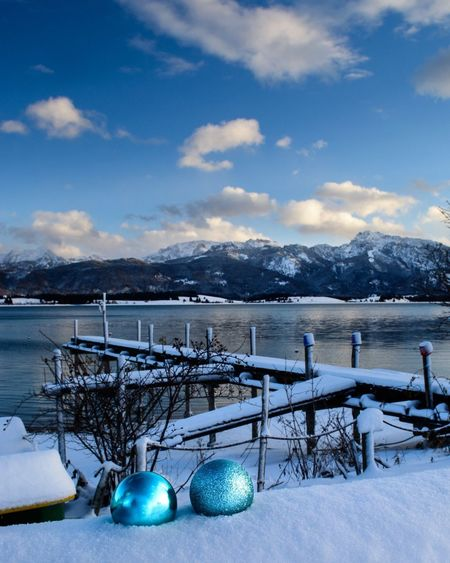 Winter at Forggensee, Bavaria, Germany Germany Alps German Alps Allgaeu Bavarian Landscape Bavarian Alps German Mountain View Bavaria Winter Wonderland Christmas Snow Winter Cold Temperature Ice Mountain Lake Water Blue Pier Outdoors Mountain Range Sky Beauty In Nature Nature Cloud - Sky Landscape No People