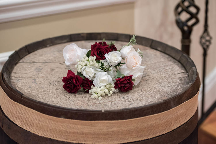 Wedding Bouquet of Flowers on a Wood Barrel with Burlap Details Burlap Event Reception Rustic Wedding Bouquet Bridal Flowers Marriage  Wood Barrel Wooden