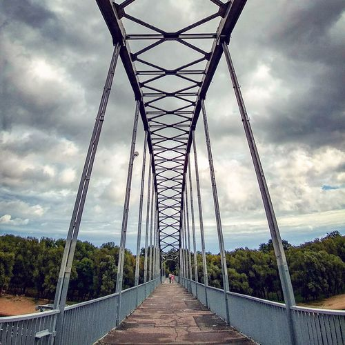 Autumn Fisheyelens Architecture Bridge Bridge - Man Made Structure Bridge View Built Structure Cloud - Sky Connection Day Fisheye Footbridge Nature No People Outdoors Sky Storm Cloud Suspension Bridge The Way Forward Transportation Travel Destinations Tree Water