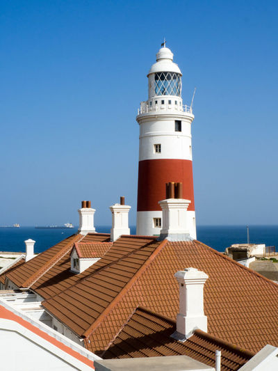 Architecture Blue Building Exterior Built Structure Clear Sky Day Guidance Horizon Over Water Lighthouse No People Outdoors Sea Sky Tower