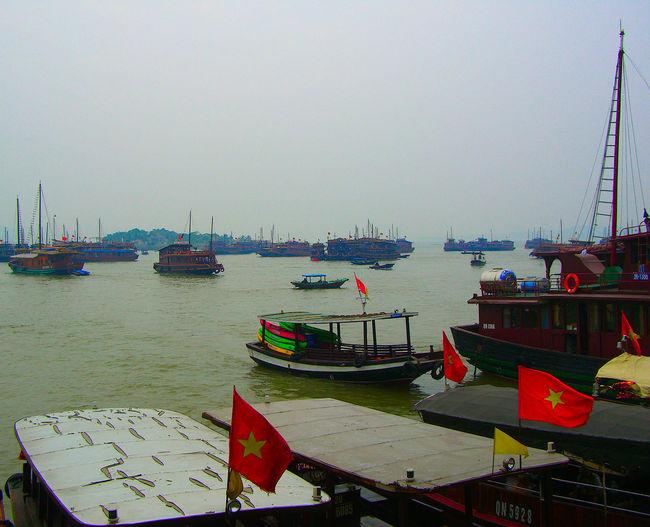 Ha Long Bay Halong Bay Vietnam Halong Bay  Nautical Vessel Water Sea Nature Travel Outdoors Junk Boat Harbor Port Vietnam Flag National Flag Heritage Site Moored Junk Junks