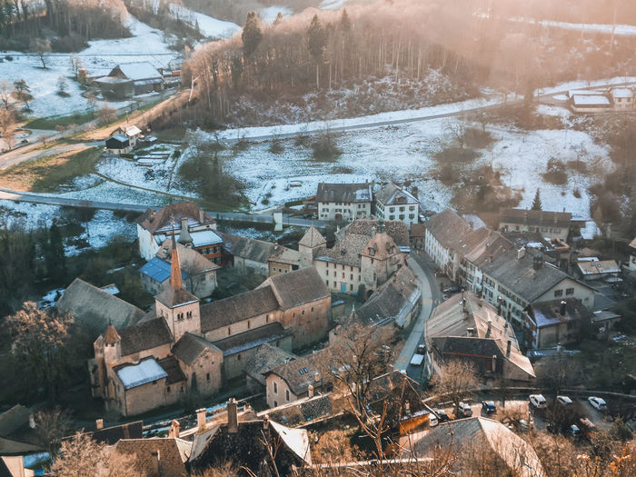 View from above of romaimôtier, switzerland