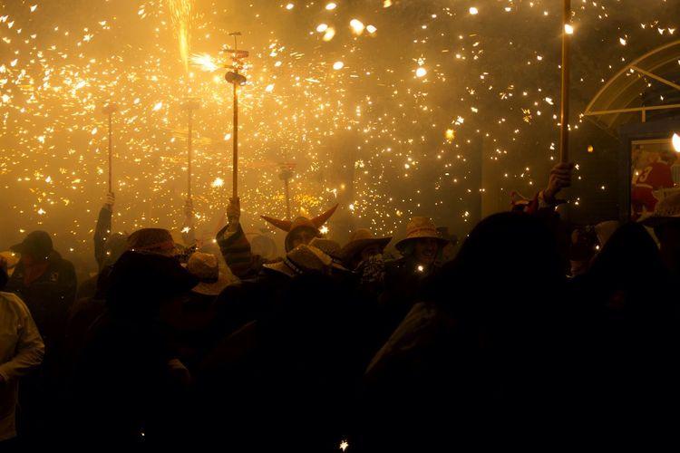 People Celebrating Correfoc In City
