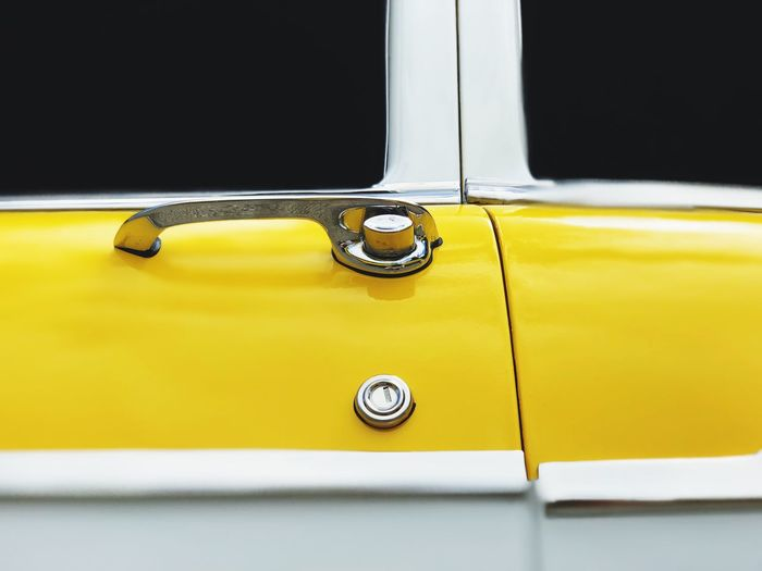 The Week on EyeEm Yellow Color Chrome Car Handle Car Door Antique Car Yellow Car Mode Of Transportation Motor Vehicle No People Land Vehicle Transportation Close-up Metal Vintage Car White Color