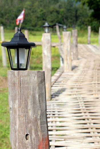 Wooden bridge made of bamboo and lamp Surrounded by nature in Thailand. Lamp Post Wooden Post Tree Paddy Field Wooden Floor Bamboo Bamboo Floor Rural Bridge Wooden Bridge Bamboo Bridge Thailand Thai Travel Health Healthcare Abundance Lifestyle Lifestyle People Holiday Summer Recreation  Relax Perching Bird Wooden Post Wood - Material Animal Themes Close-up