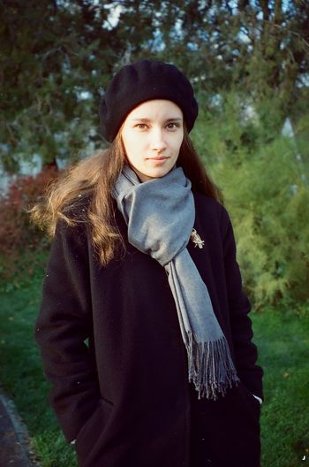 Alisa Clothing Looking At Camera Young Adult Scarf Warm Clothing Outdoors Hair Long Hair Hairstyle Lifestyles Beautiful Woman Real People Young Women Portrait Plant Front View One Person Autumn 35mm Film 35mm Film Photography Film Mjuii Mju2 Olympus