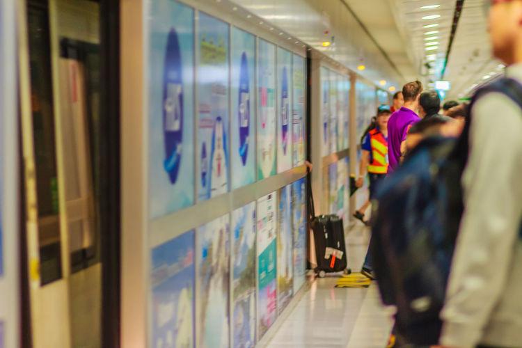 Bangkok, Thailand - February 21, 2017: View of inside the Suvarnabhumi International Airport Rail Link Station. Airport Rail Airport Rail Link Airport Railway
