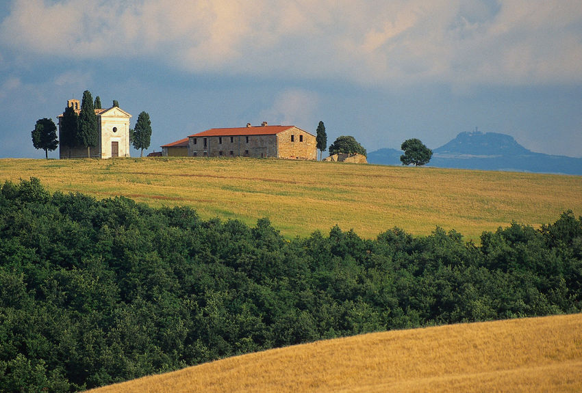 Farm and chappel in Tuscany Chappell Monte Amiata Architecture Beauty In Nature Built Structure Cloud - Sky Field Landscape Mountain Nature No People Outdoors Scenics Sky Tranquility Travel Destinations Tree