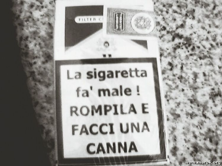 No Tabacco Si Weed Sigarette Canne