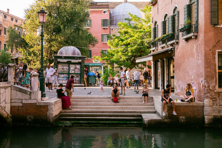 Venice Building Exterior Architecture Water Built Structure Group Of People Large Group Of People Crowd City Real People Tree Plant Nature Day Men Travel Destinations Building Street Women Outdoors Canal