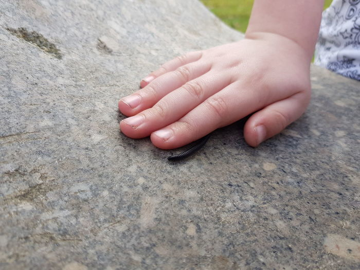 Centipede Crawling Childhood Curiosity Wildlife Exploring EyeEm Selects Human Hand Childhood Beach Child Sand Close-up Fingernail Granite Marbled Effect Marble