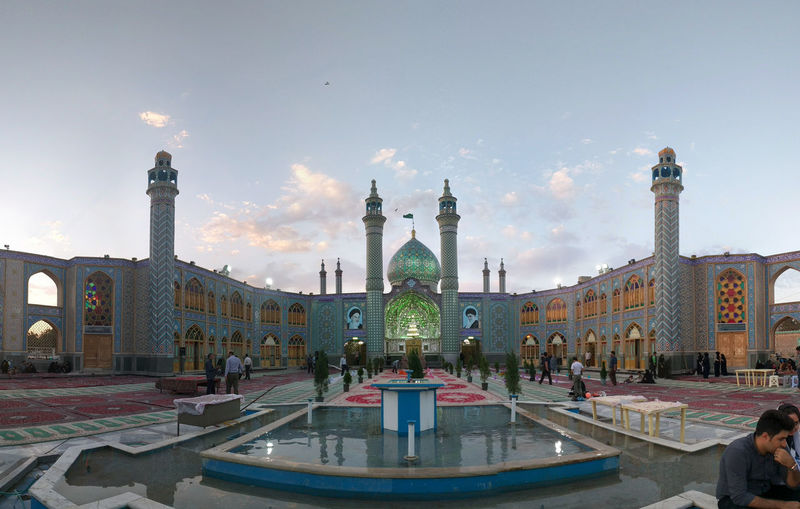 Architecture Building Exterior Built Structure City Day Dome Illuminated Iran Islamic Islamic Architecture Islamic Art Kashan Large Group Of People Leisure Activity Minaret Mosque Outdoors People Real People Sky Travel Destinations Water