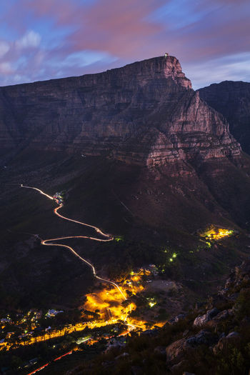 High Angle Shot Of Illuminated Town