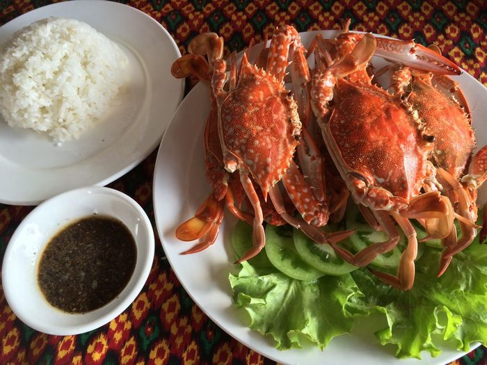 Crabs served on plate