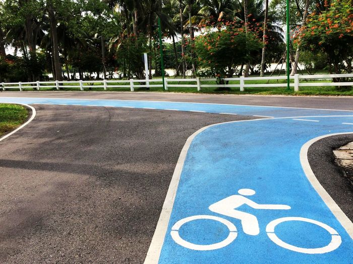Bicycle lane Exercise Garden White Line Road Sign Bike Street Blue Lane Safety Lines Dividing Line Lane Park Symbol Oneway Bicycle Sign Road Marking Asphalt Road Traffic Sign Bicycle Lane Parking Sign Directional Sign One Way
