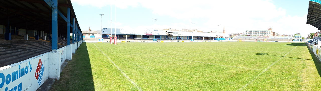 Architecture Barrow In Furness Barrow Raiders Barrow Rugby League Blue Built Structure Cloud Cloud - Sky Craven Park Day Empty Grass Grassy Green Green Color Growth History Landscape Lawn Multi Colored Nature No People Outdoors Sky Sunny