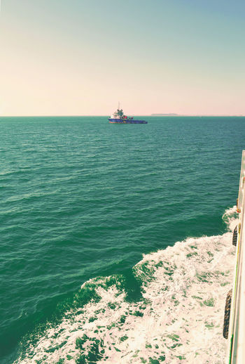Edge Of The World Beauty In Nature Boatedges Boatwaves Clear Sky Day Drilling Rig Horizon Over Water Nature Nautical Vessel No People Offshore Platform Oil Pump Outdoors Sea Ship Sky Water