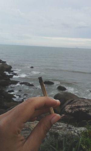 🌊 Weed Weeds Pot Cannabis Marijuana Kush Joint Hippie Hippielife Reggae Human Hand Sea One Person Holding Personal Perspective Water Beach first eyeem photo