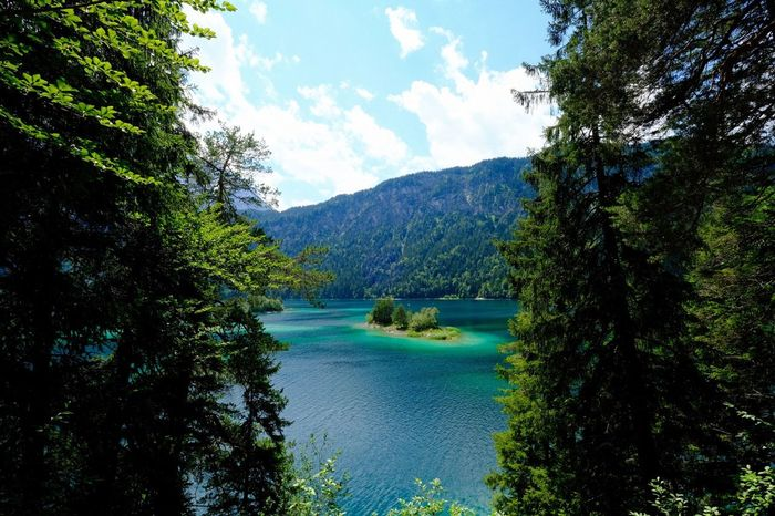 Eibsee Plant Tree Scenics - Nature Water Beauty In Nature Tranquility Tranquil Scene Mountain Cloud - Sky Idyllic Forest Lake Green Color Outdoors
