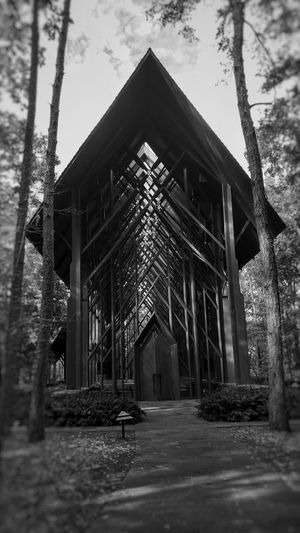 Built Structure Architecture Tree No People Outdoors Nature Anthony Chapel, Garvan Woodland Garde S, Hot Springs , AR Day Sky Black And White Monochrome Tranquility