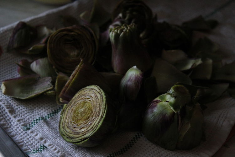 Artichokes on table