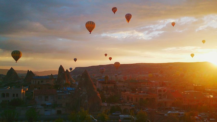 Hot Air Balloons In City