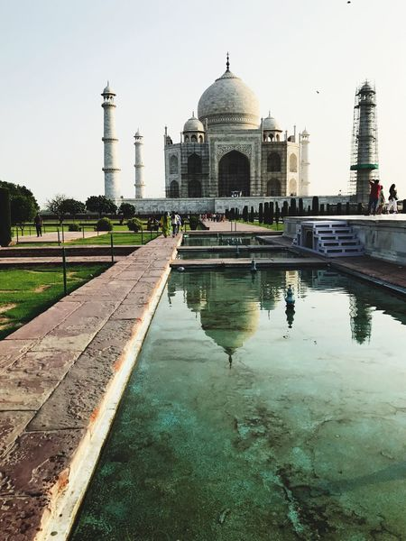 Agra - India Built Structure Water Architecture Reflecting Pool Dome Travel Destinations History Reflection Day Tourism Travel Photography Taj Mahal Building Exterior Outdoors Real People Sky Clear Sky Tree Nature Ancient Civilization The Week On EyeEm