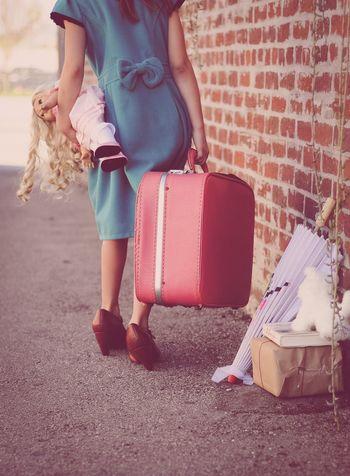 Little Girl Vintage Suitcase Doll Traveling Big Shoes Blue Dress