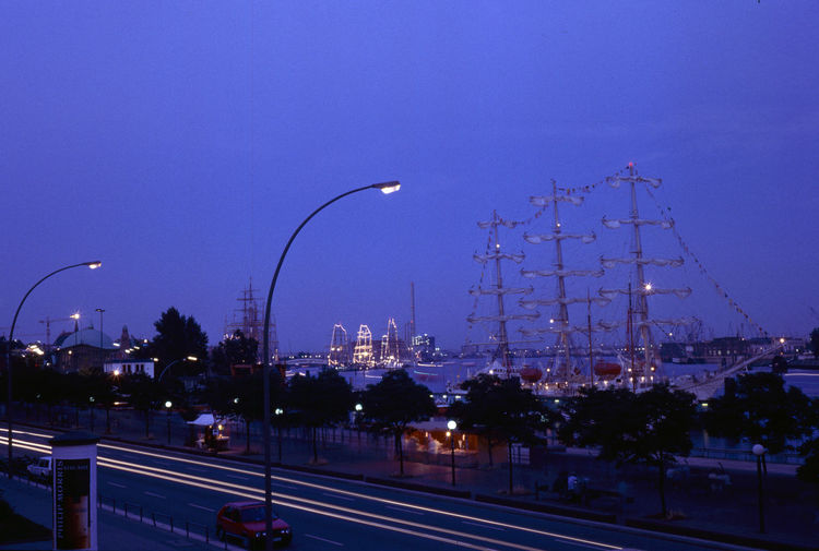 Blue Sky Blurred Motion Famous Place Gorch Fock Harbour High Angle View Nighttime Lights Ship