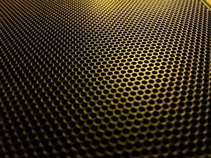 No Metal Textured  Backgrounds Grid Dark Black Color Pattern Hexagon Speaker Abstract Textured Effect No People Close-up Honeycomb Technology