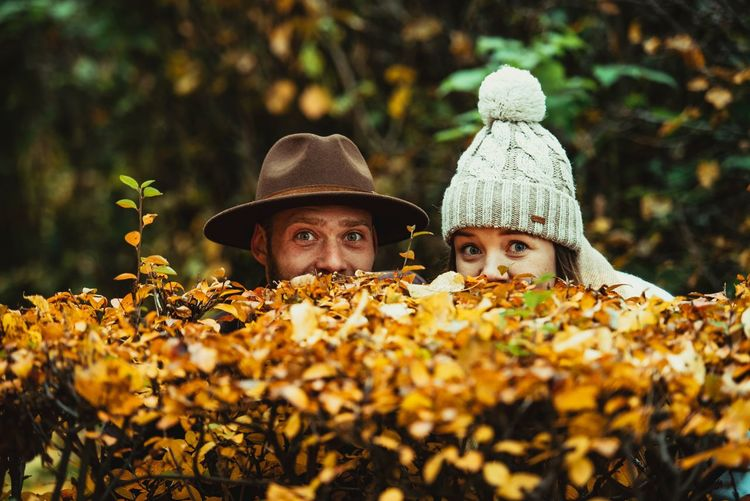 Happiness love pair with autumn mood