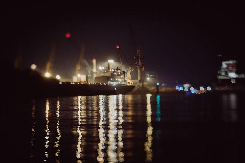 EyeEm Best Shots Hamburg Harbour New On Eyeem Freight Transportation Illuminated Nautical Vessel Night No People Outdoors Reflection Sea Sky Squeezerlens Transportation Water Waterfront
