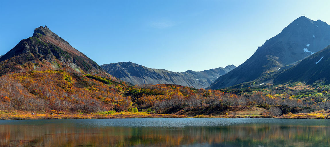 Mountain Beauty In Nature Sky Mountain Range Scenics - Nature Lake Tranquil Scene Water Tranquility Nature Environment No People Landscape Autumn Day Idyllic Clear Sky Reflection Waterfront Outdoors Mountain Peak Change Formation