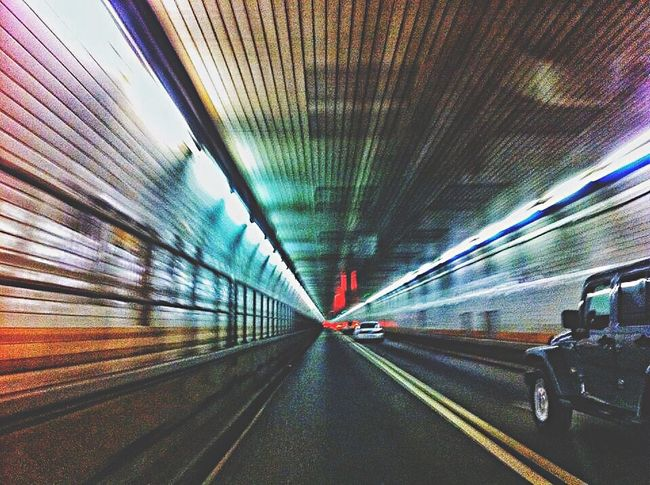 Snowed in, so uploading photos....one day I somehow found myself in the Holland Tunnel and I don't know how! New York New York City New Jersey Tunnel Tunnels Underground Underwater Beneath Lightstreaks Movement Blur Blurred Motion