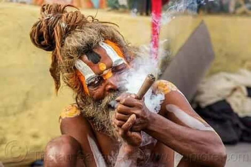 One Man Only Smoking Ganja♥ Weed Loers Indian Sadhu Meditiation