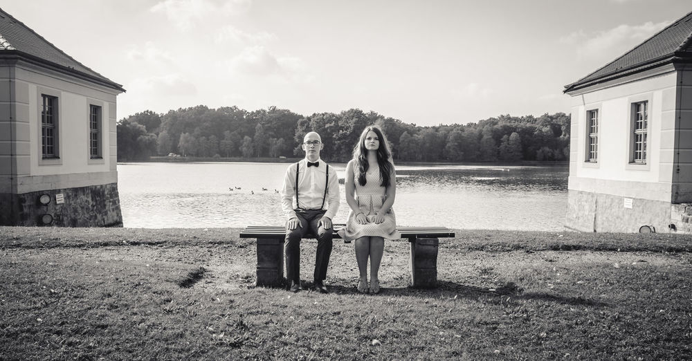 30th Bench Blackandwhite Bride Couple Day Groom Lake Love Midlife Old Fashioned Old Style Outdoors Person Rear View Sitting Togetherness Water Wedding