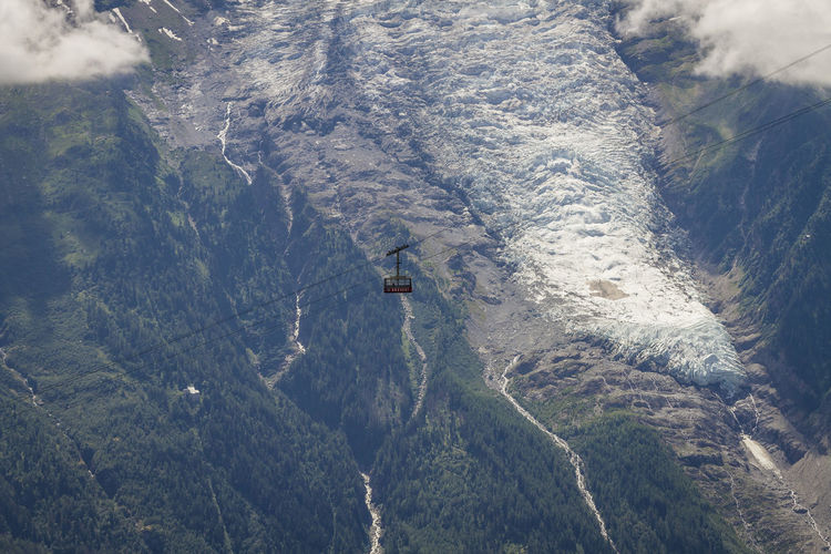 Aerial View Of Overhead Cable Car Above Mountains