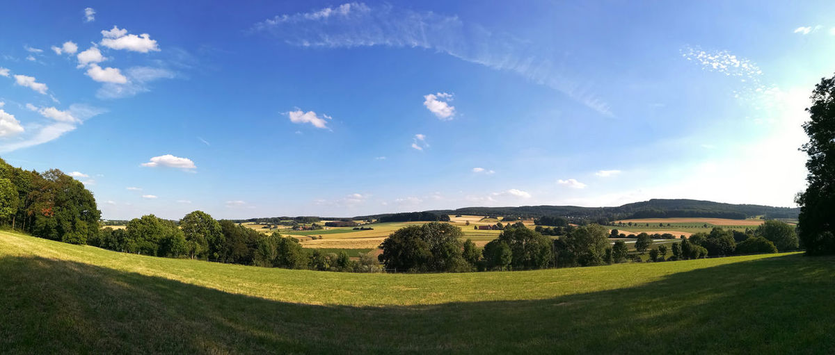 Panorama Fromhausen Horn-Bad Meinberg Lavender Field Environment Landscape Grass Field Plant Land Beauty In Nature Green Color Scenics - Nature Sky Tranquil Scene Nature Tree Tranquility Day Sunlight Cloud - Sky No People Outdoors Rolling Landscape