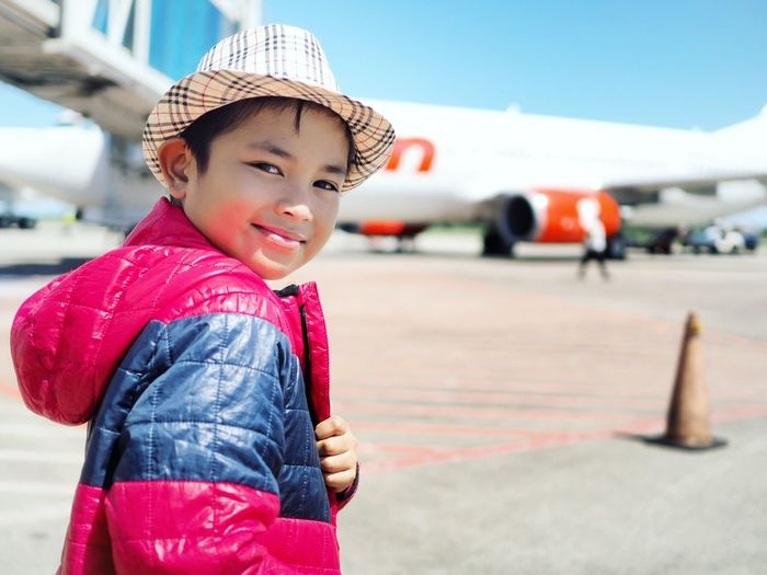 Be. Ready. EyeEm Selects Smiling Child Happiness Cute Portrait Childhood One Person Jacket Cheerful Fun Enjoyment People Looking At Camera Lifestyles Arts Culture And Entertainment Red Girls Headwear Day Children Only