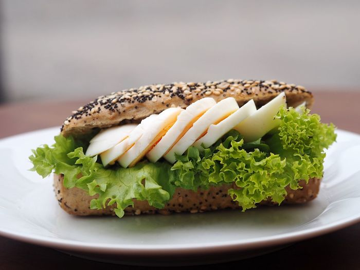 Close-Up Of Egg Sandwich In Plate On Table