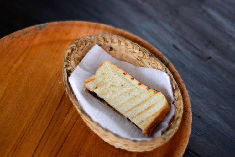 High angle view of bread in plate on table