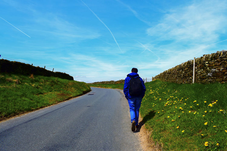Man People Walk Traveling Backpacking Alone Nature Hill Mountains Way Street Road